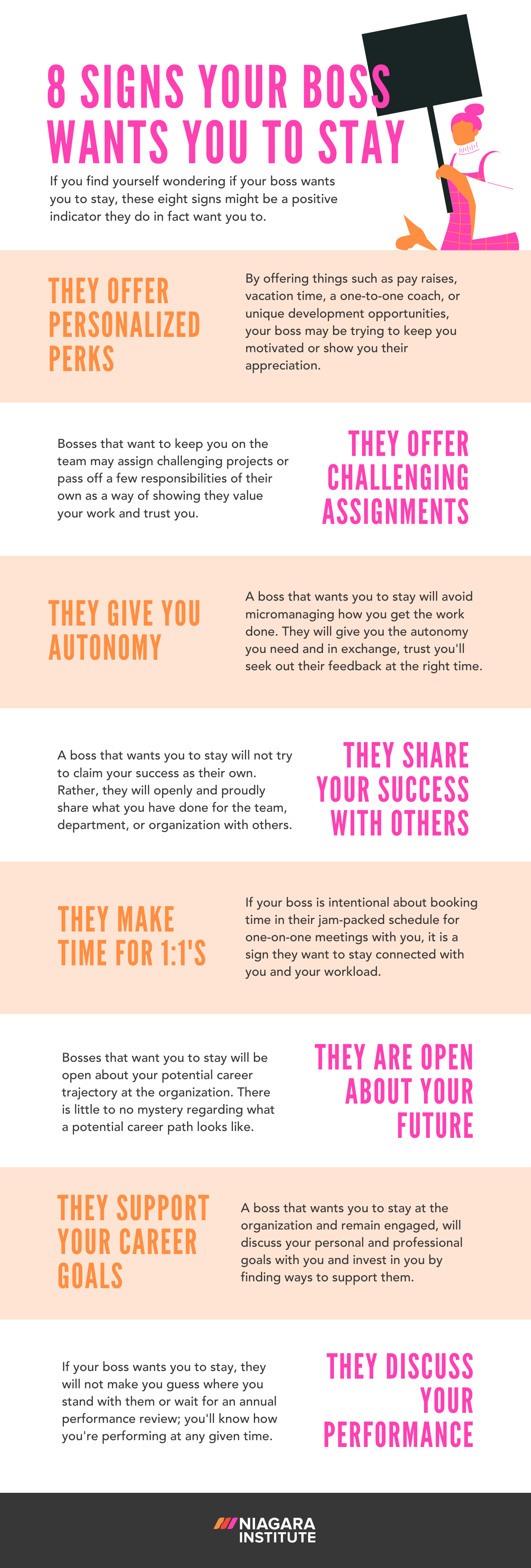 8 Signs Your Boss Wants You to Stay Niagara Institute Infographic