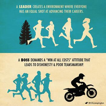 Boss vs Leader Team Environment by Orlando Scampington (1)