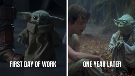 First Day of Work vs One Year Later Meme