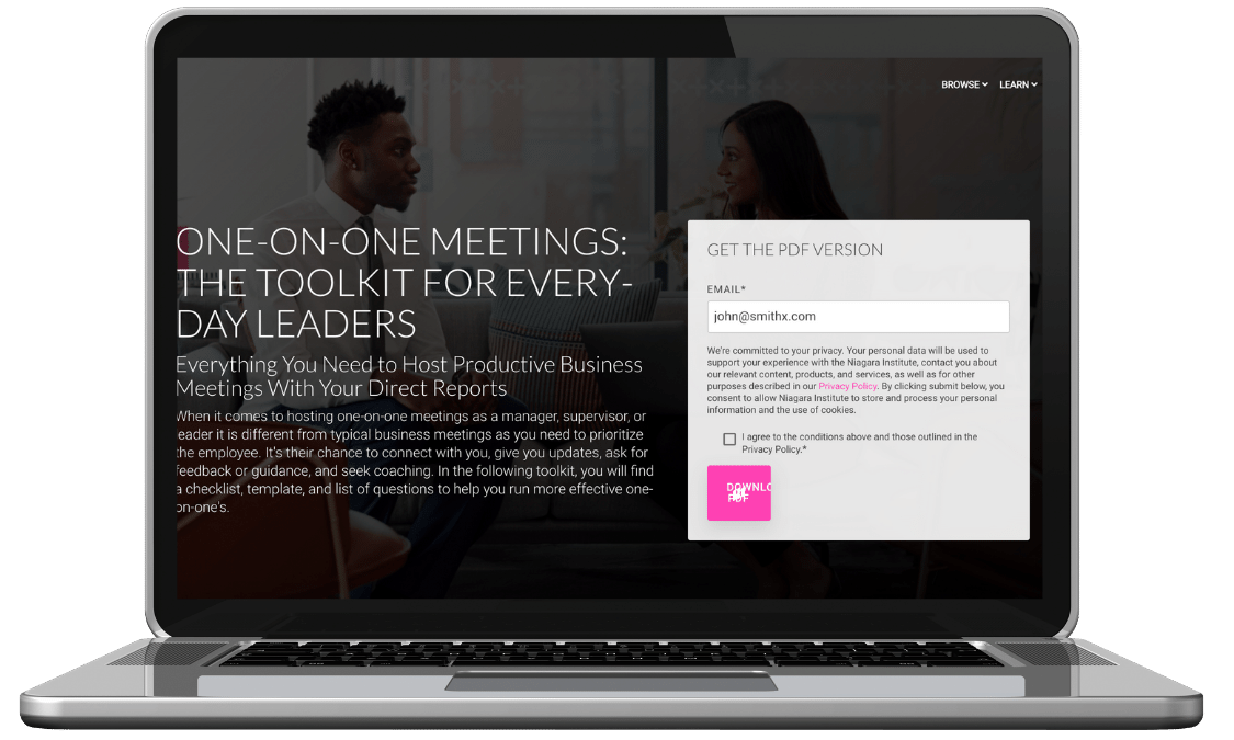 One on one meeting toolkit by Niagara Institute